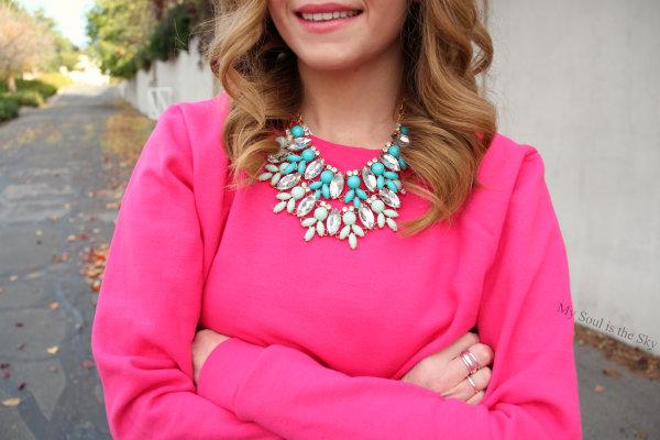 Pink Sweatshirt Mint Necklace