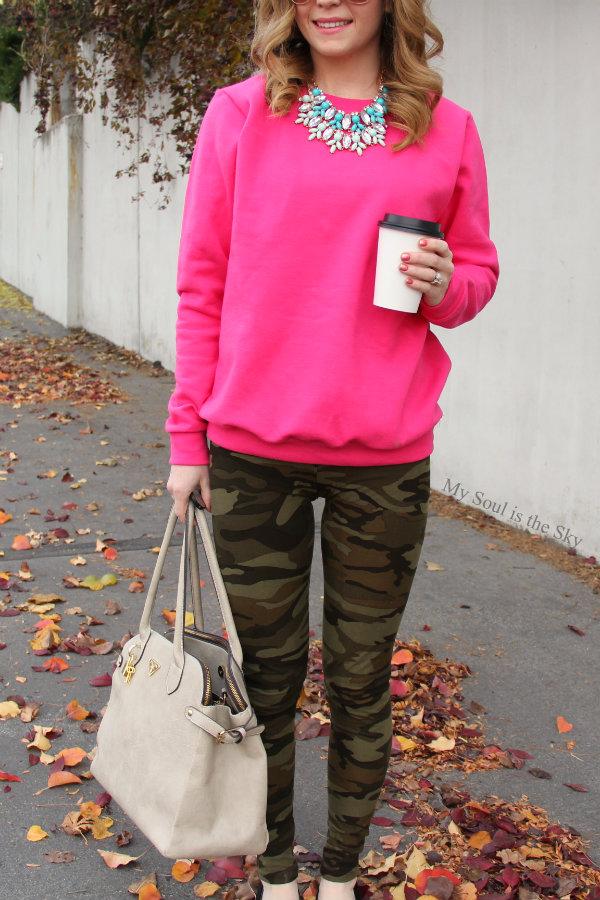 Pink Sweatshirt Camo Leggings 2