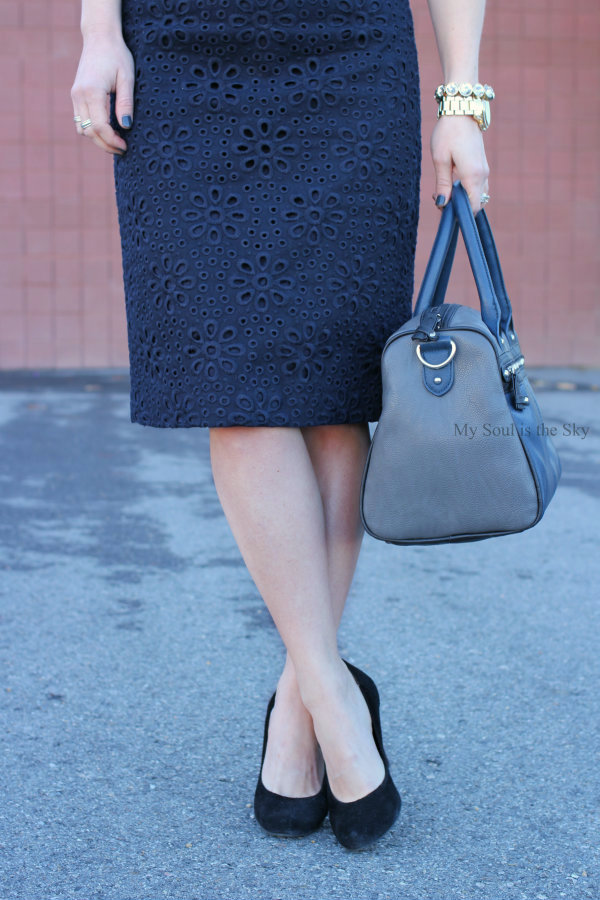 Blue JCrew Embroidered Skirt