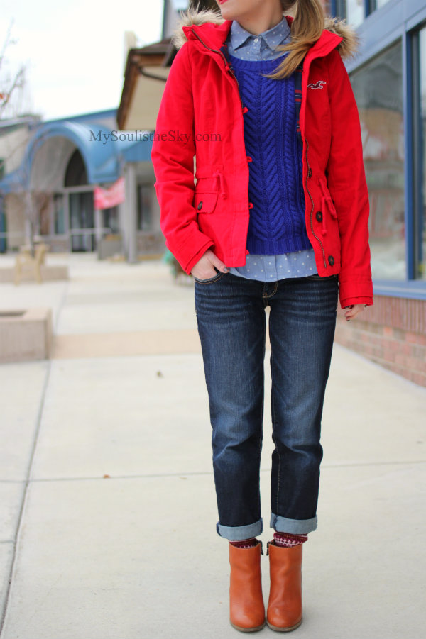 Red Coat Boyfriend Jeans Madewell Booties