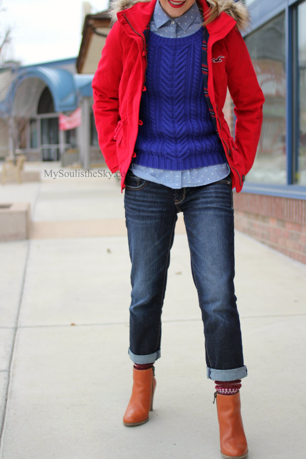 Red Coat Boyfriend Jeans Madewell Boots