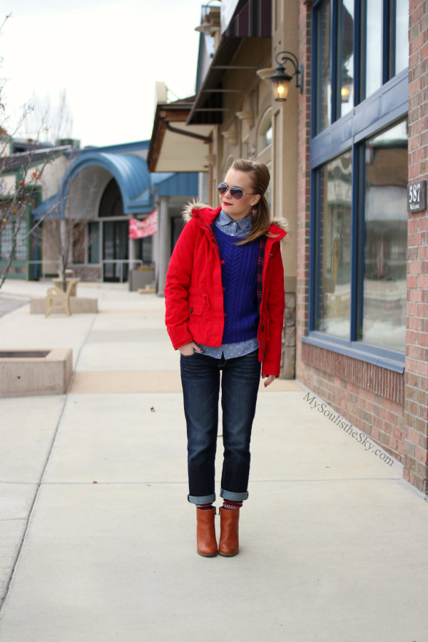 Red Coat Madewell Booties Boyfriend Jeans