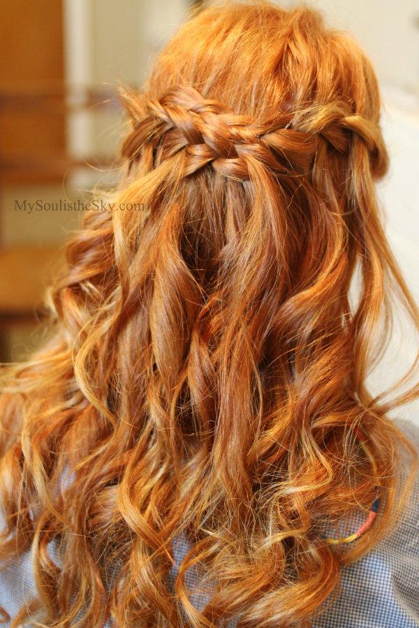 Waterfall Braid with Curls