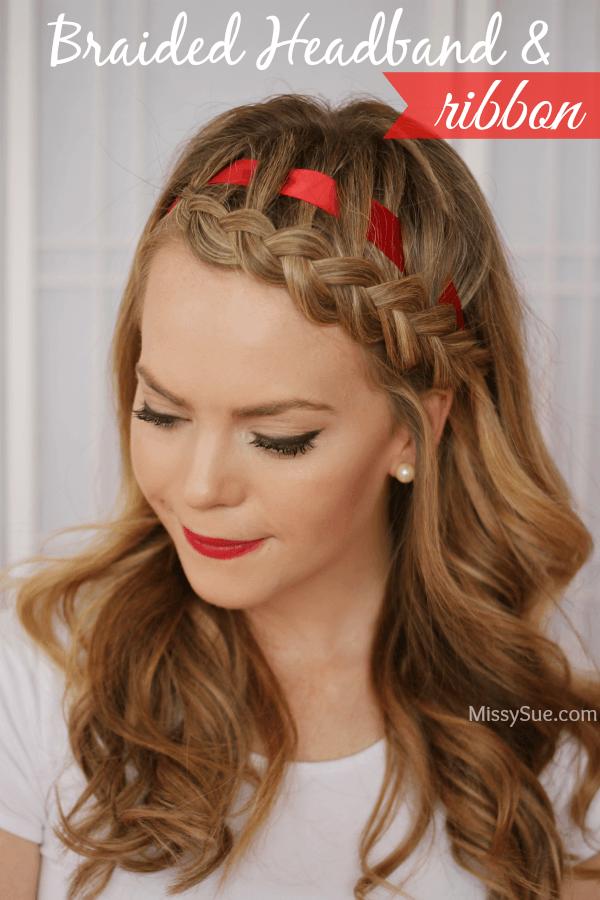 Dutch Braid Headband with a Ribbon 2