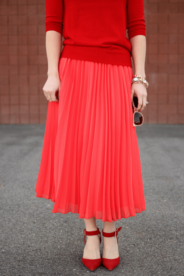 Pink Pleated Skirt for spring via Missy Sue