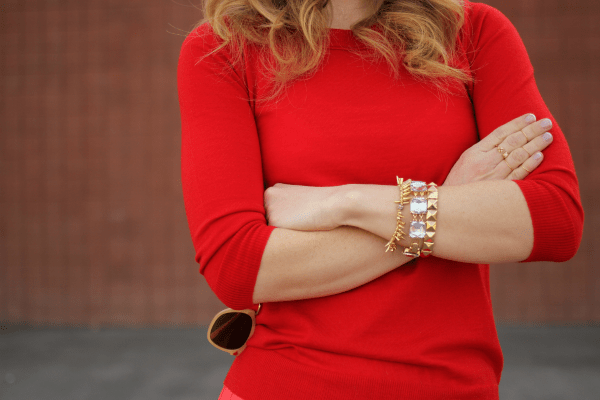 Red Tippi sweater via Missy Sue