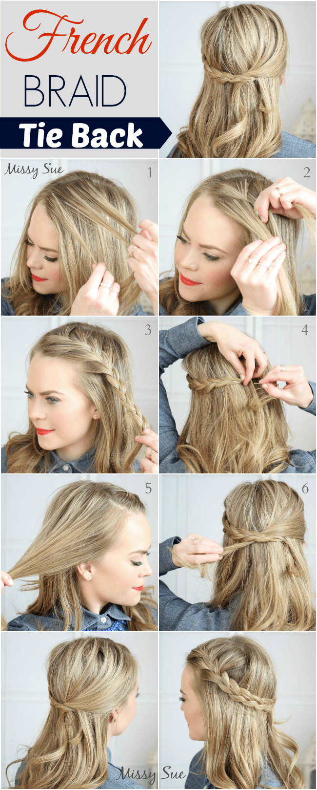 Stupendous Braid 17 French Braid Tie Back Short Hairstyles Gunalazisus