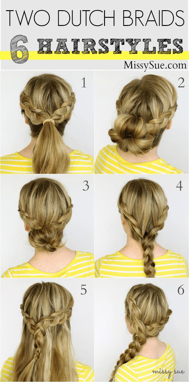 Sensational Two Dutch Braids 6 Hairstyles Missy Sue Hairstyles For Men Maxibearus