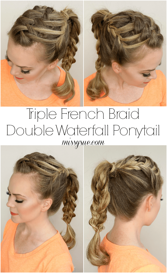 Brilliant Triple French Braid Double Waterfall Ponytail Short Hairstyles For Black Women Fulllsitofus