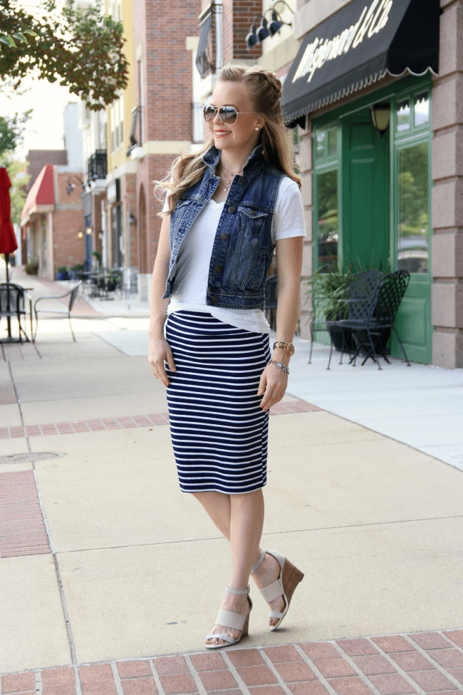 striped-pencil-skirt-denim-vest