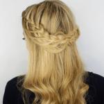 Looped Half Up Crown Braid