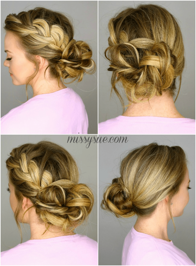Peachy French Braid Into Messy Bun Missy Sue Hairstyle Inspiration Daily Dogsangcom