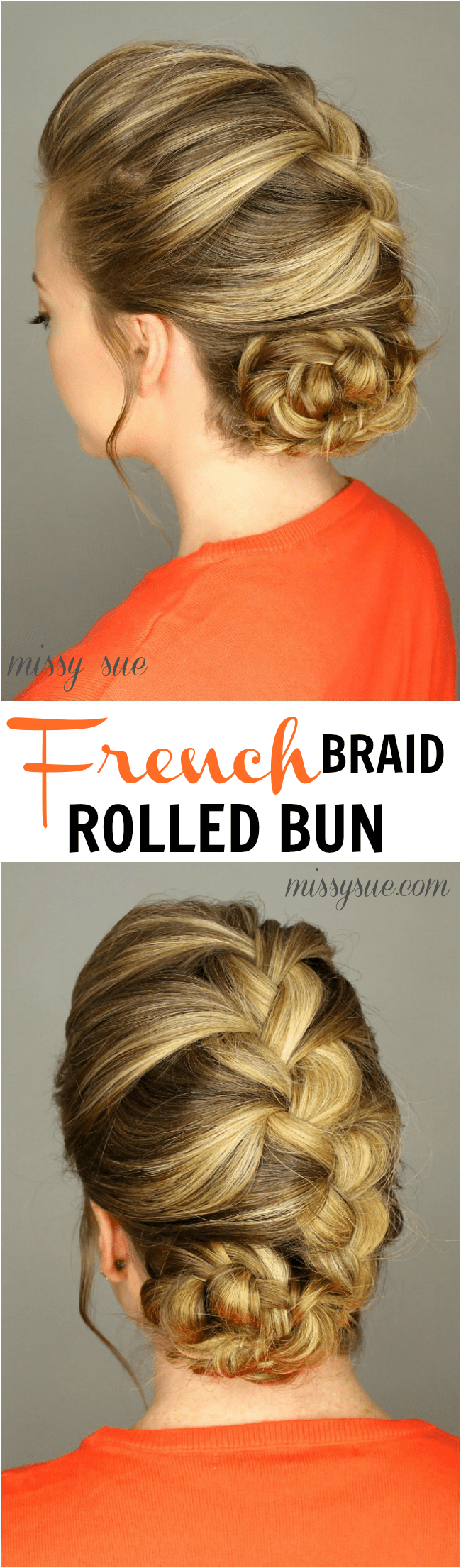 French Braid Rolled Bun | MissySue.com