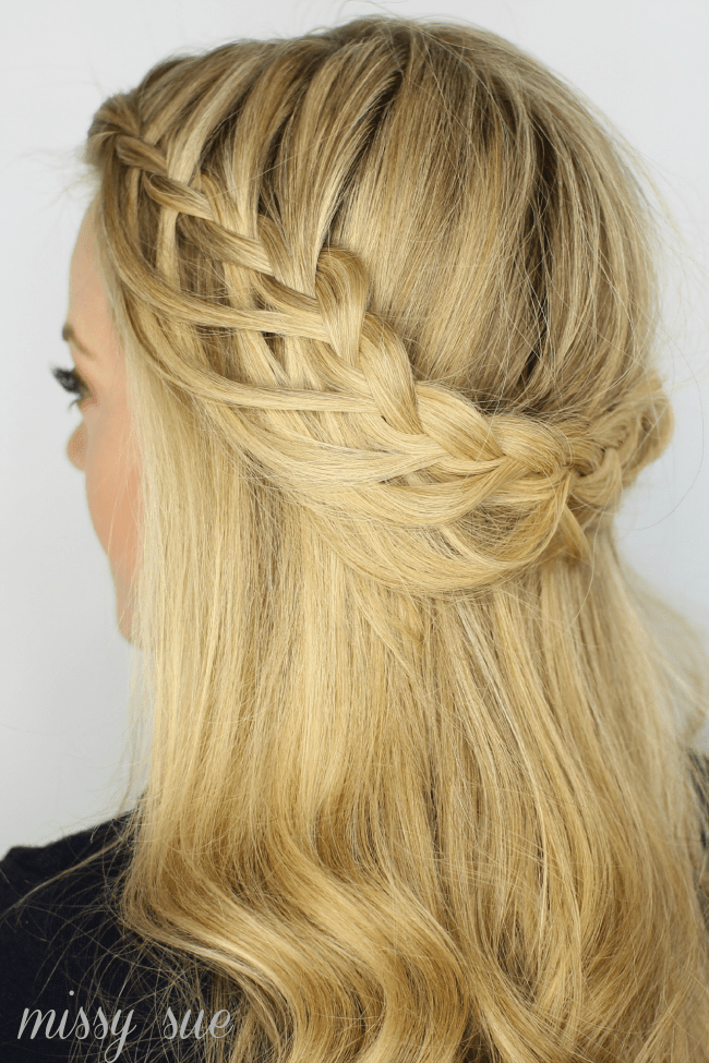Looped Half Up Crown Braid