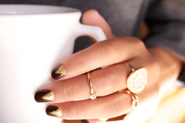 Burgundy And Gold Nail Tutorial