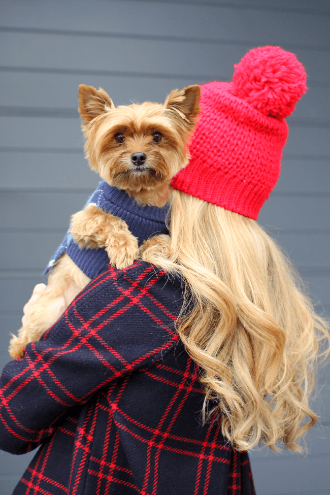 Plaid Coat and Red Hat