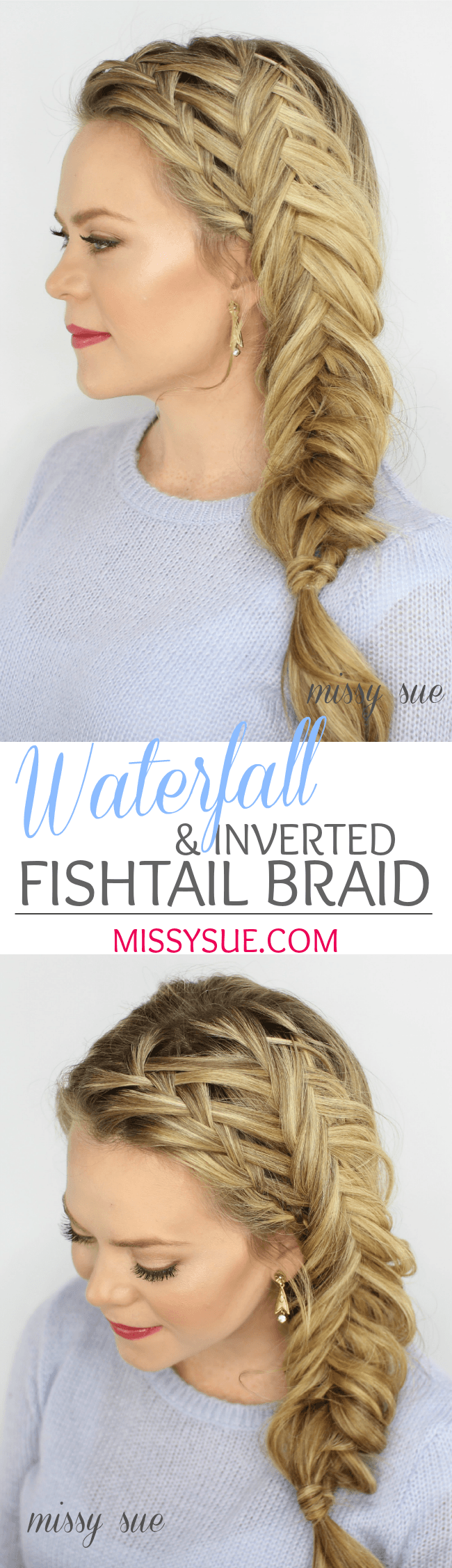 Waterfall and Inverted Fishtail Braid
