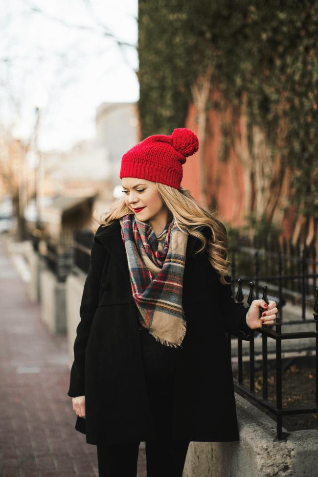 plaid-scarf-red-beanie