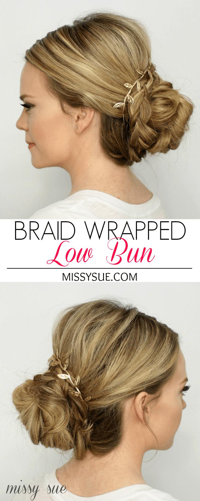 Braid Wrapped Low Bun   MissySue.com