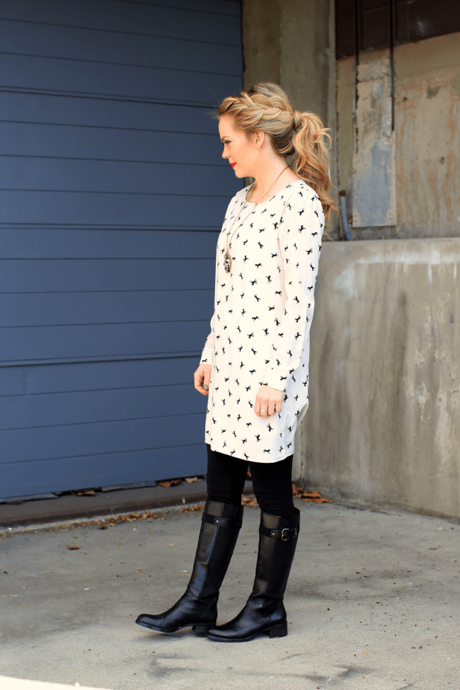 Black Boots and Printed Dress