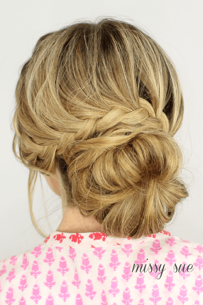 Swell French Lace Braid Updo Short Hairstyles Gunalazisus