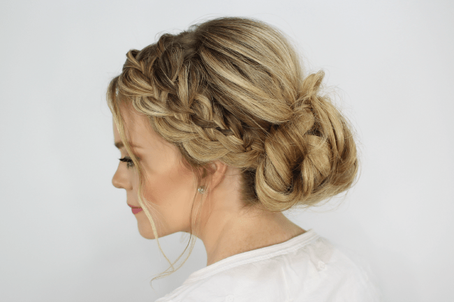 Updo Hair Styles For Prom: Waterfall French Braid Messy Bun