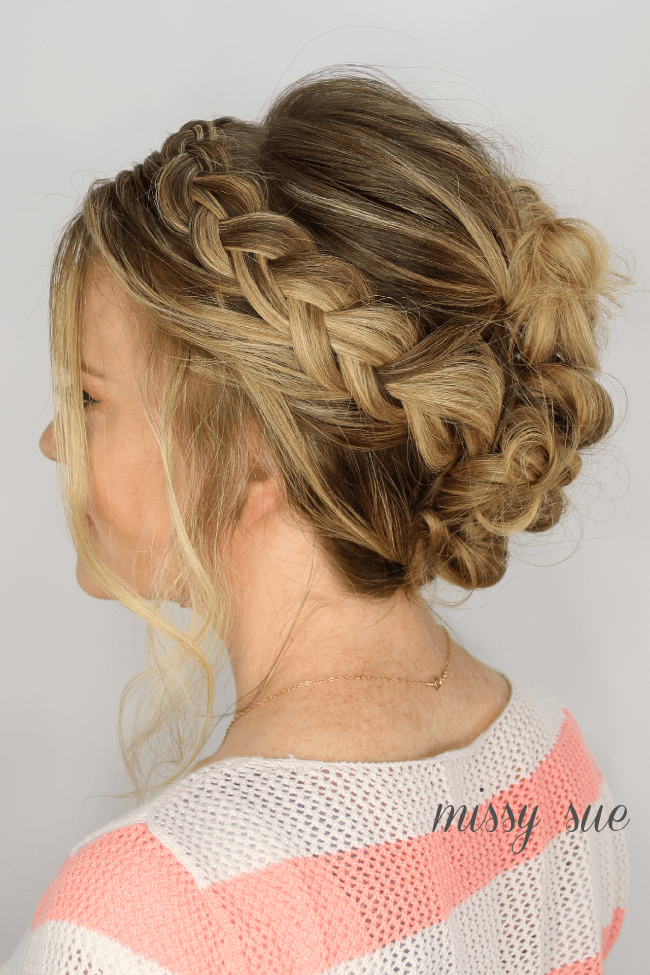 Casual Braid and Bun Updo
