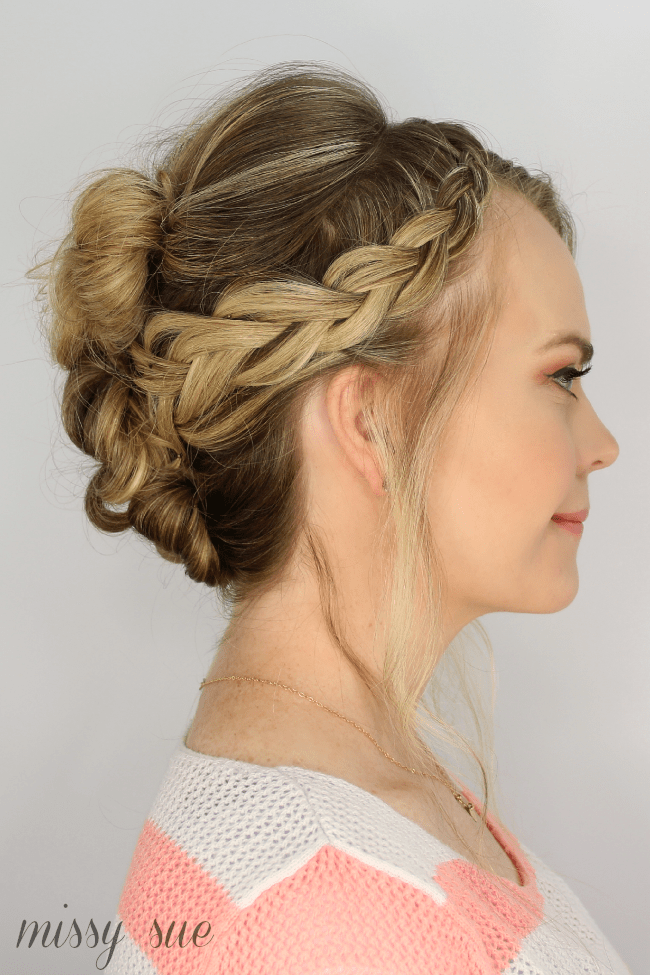 braided hair bun styles casual braid and bun updo 7753