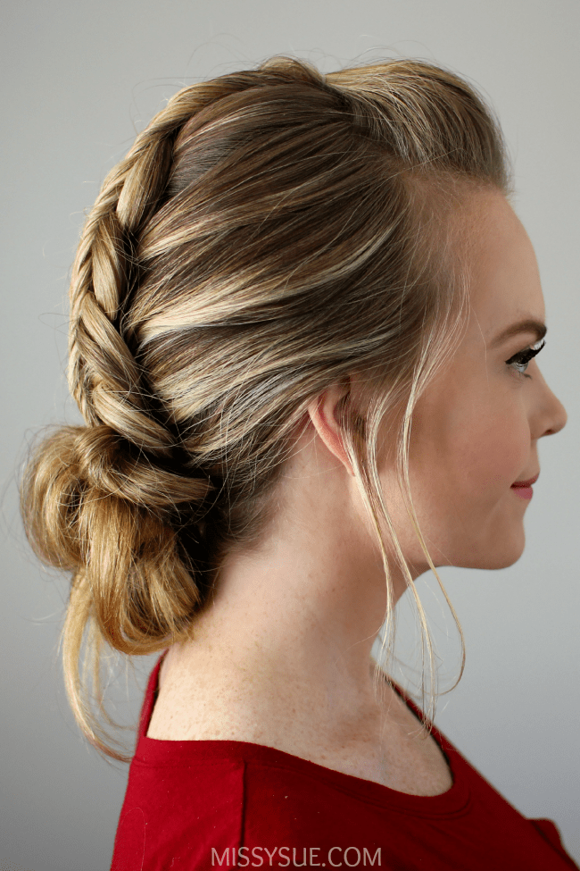 Stacked Fishtail + Dutch Braid Messy Bun