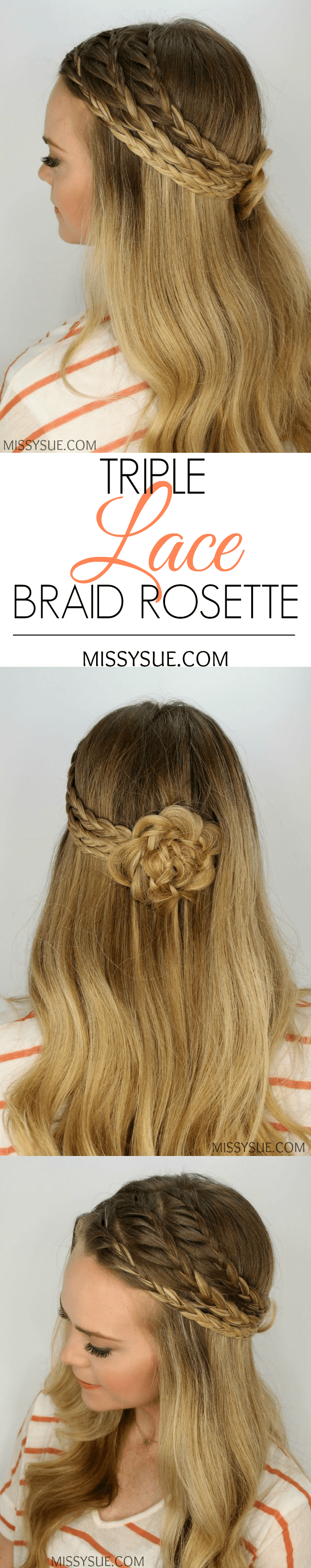 Triple Lace Braided Rosette