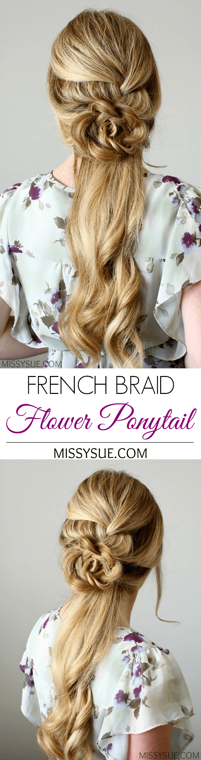 French Braid Flower Ponytail