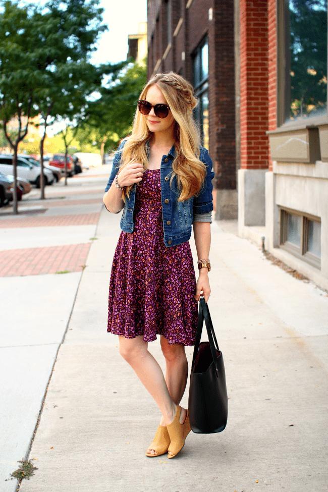 purple-swing-dress-denim-jacket