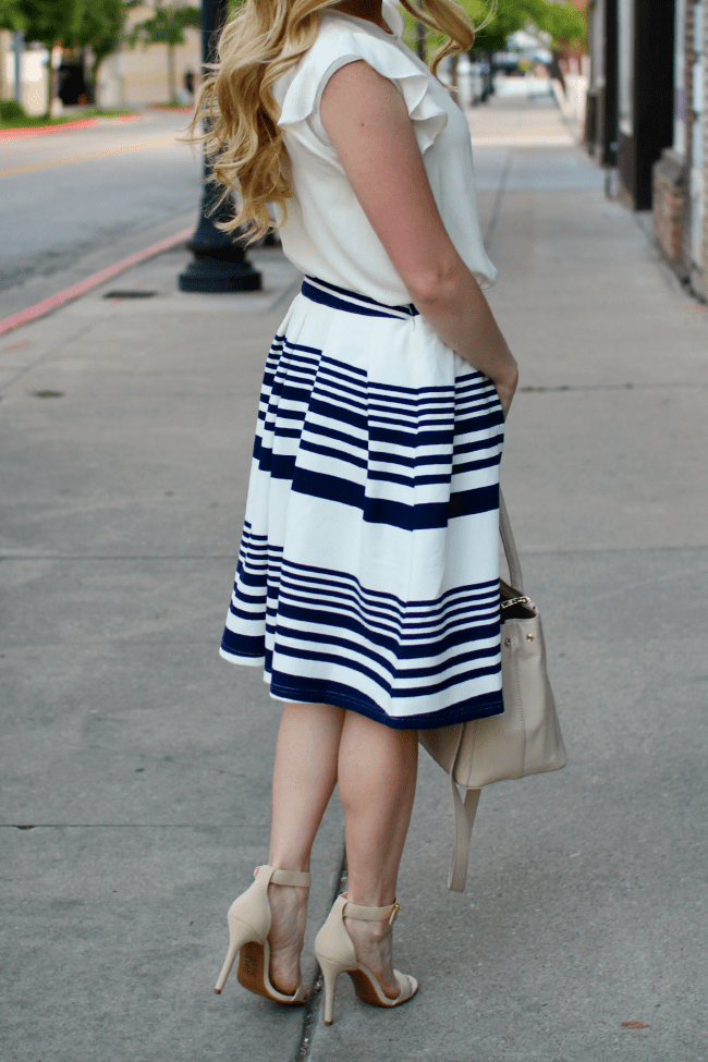 stripe-skirt-flutter-sleeve top-nude-heels