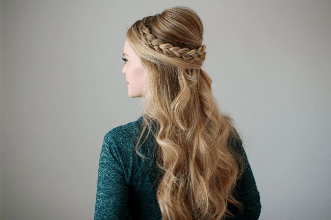 Dutch Braid Embellished Half Updo