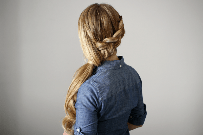 Side-swept Dutch Braid Ponytail