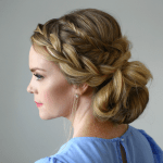 Stacked Fishtail French Braid Messy Bun