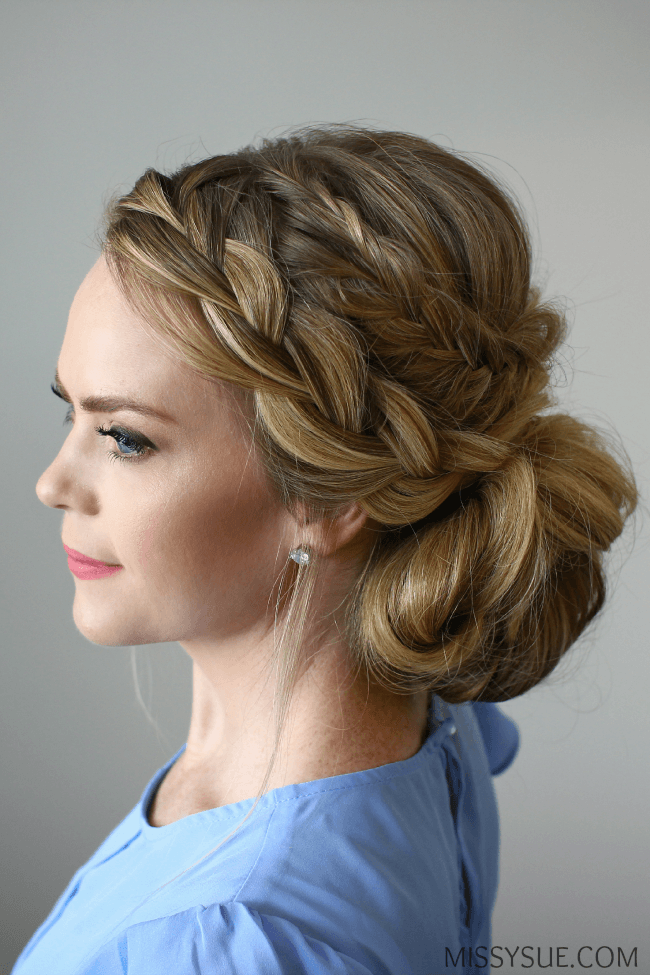 fishtail-tail-french-braid-messy-bun