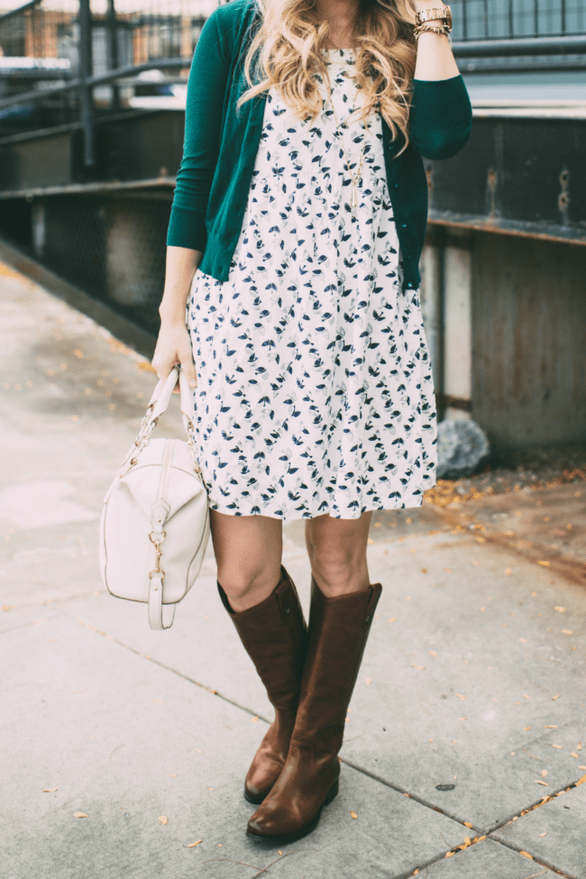 patterned-dress-frye-boots-green-sweater