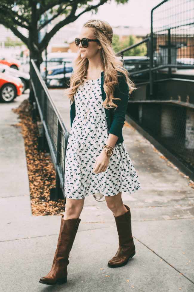 patterned-dress-headband-braids-knee-high-boots