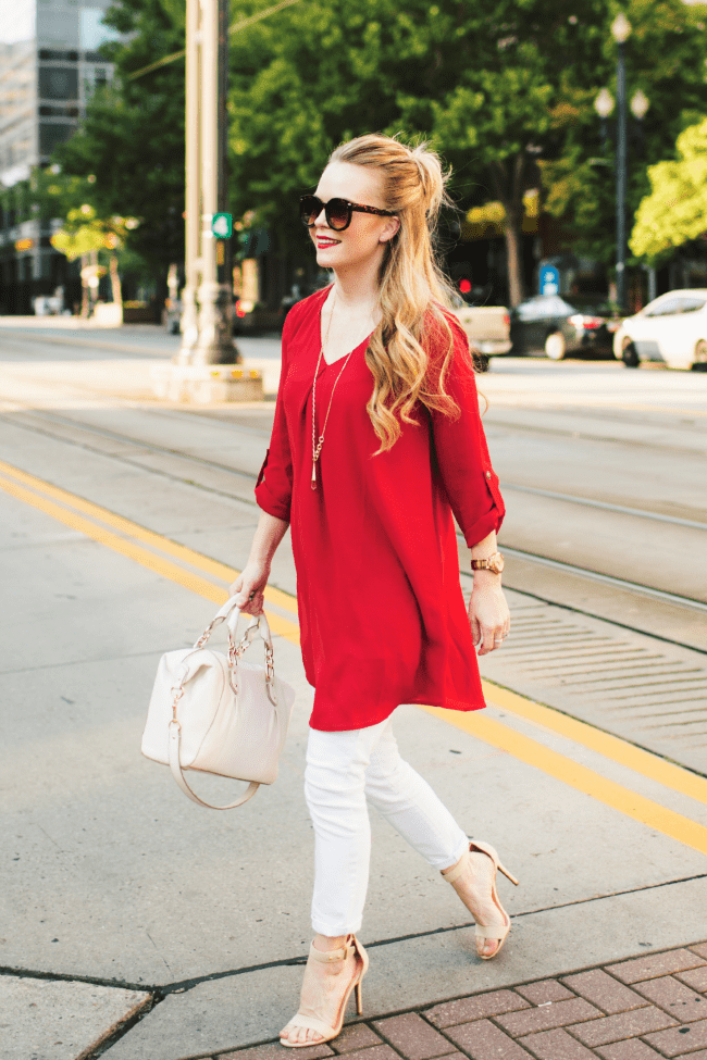 red-long-top-white-denim