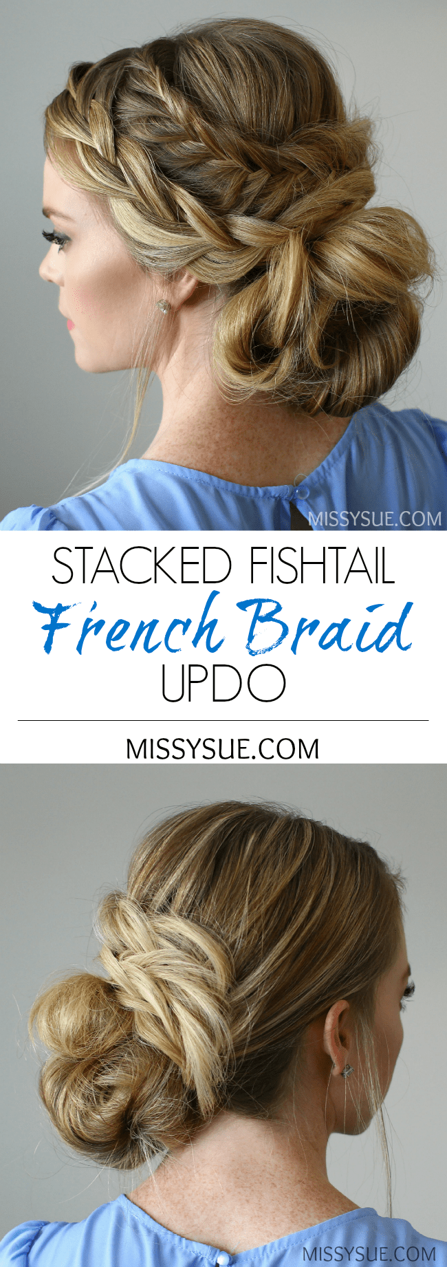 Stacked Fishtail French Braid Updo