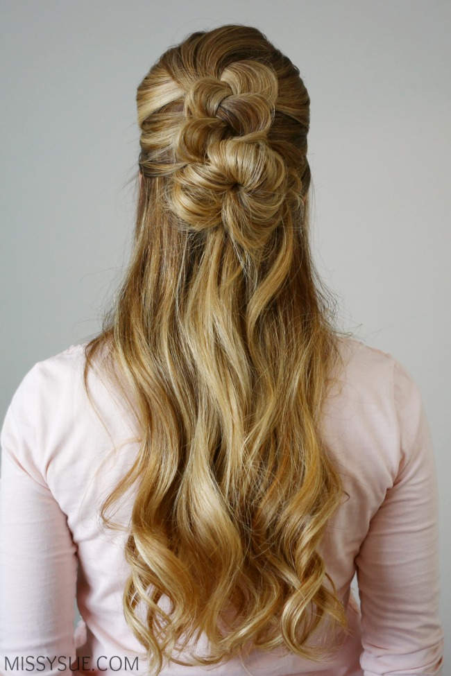 Half Up Dutch Braid Messy Bun