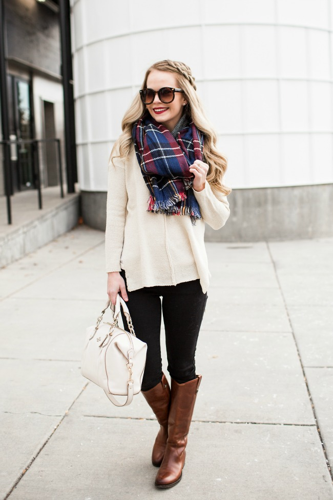 plaid-scarf-neutral-sweater
