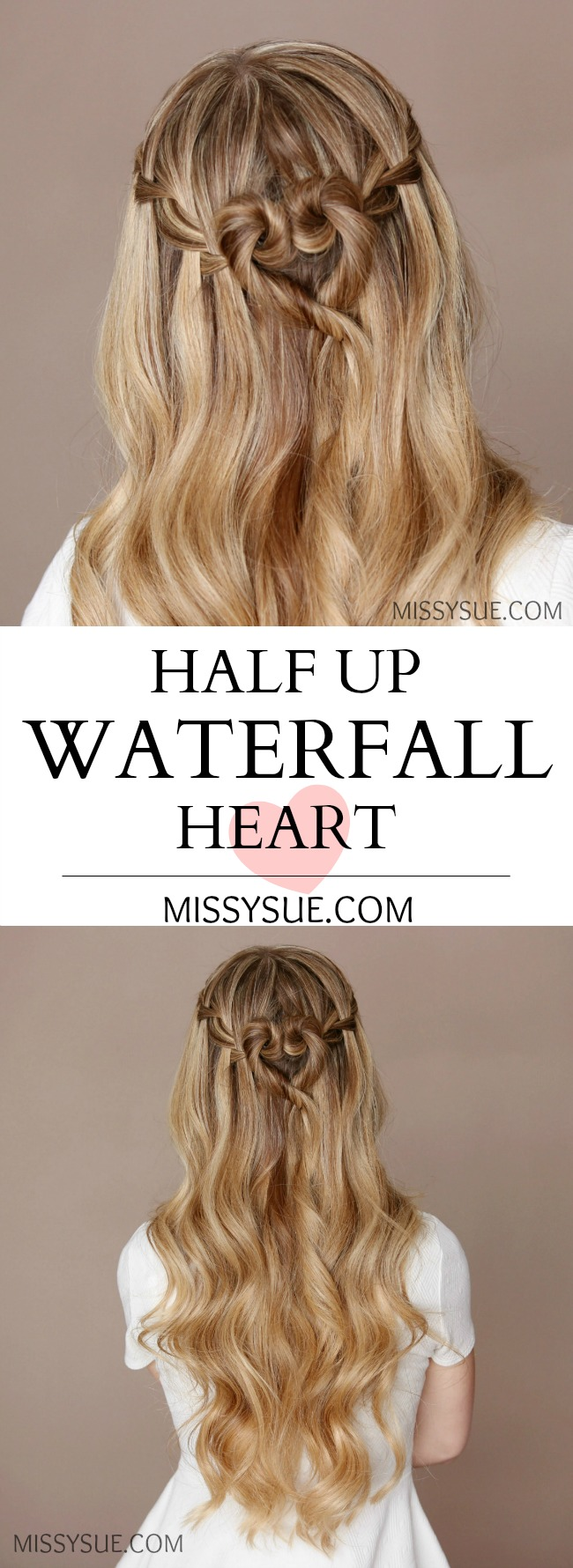 Half Up Waterfall Heart