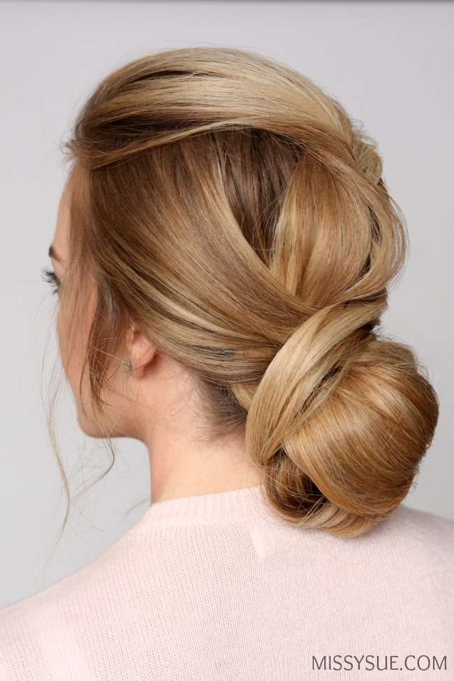 low bun hair style wrapped low bun updo sue 4178