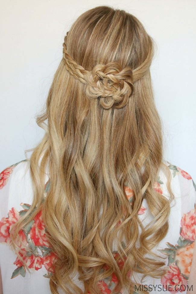 half-up-braided-flower-flat-iron-curls