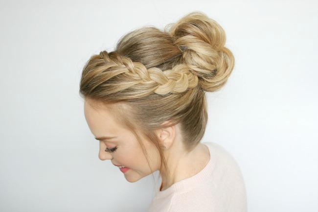 Hair Styles Updo: Double Lace Braid High Bun