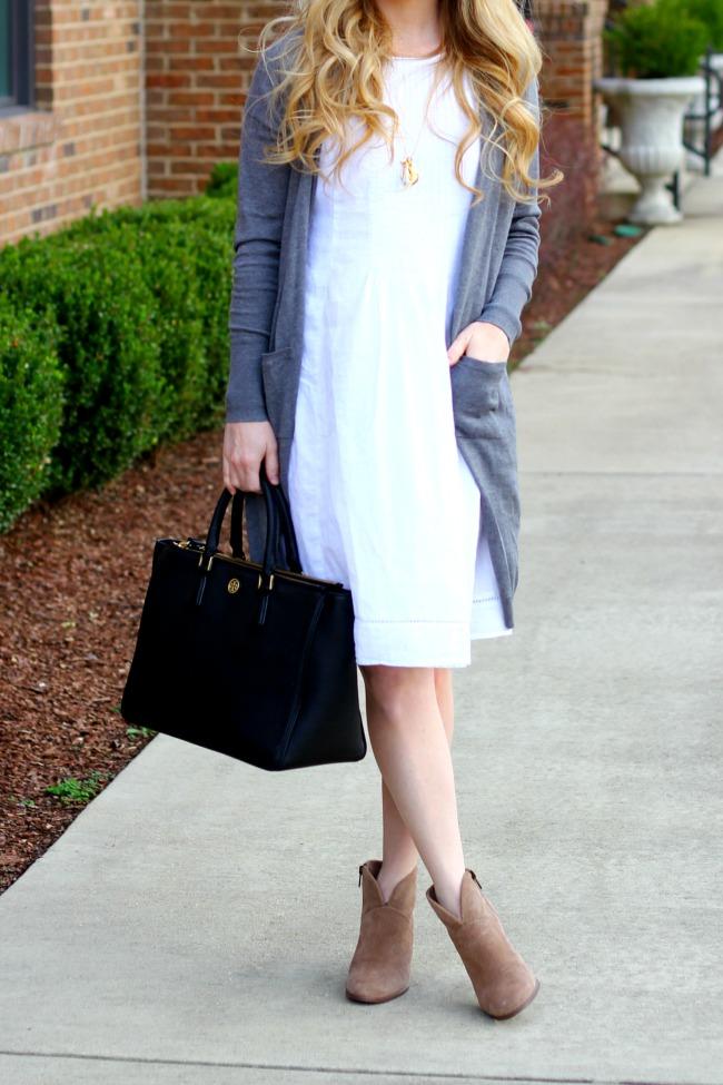 white-dress-gray-boyfriend-sweater