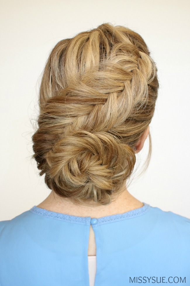 dutch-fishtail-braid-low-bun-updo-hairstyle