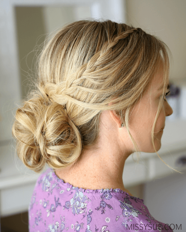 looped-braid-low-bun-hairstyle